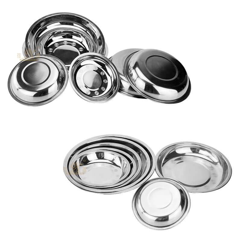 stainless steel round plate wholesale dinner plate dish supplier