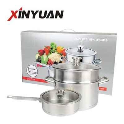 kitchen cookware 2 pcs of China stainless steel frying pan soup pot set professional manufacturer