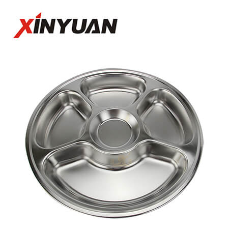 Stainless food tray of new design stainless steel divided 5 sections FT-00621-C