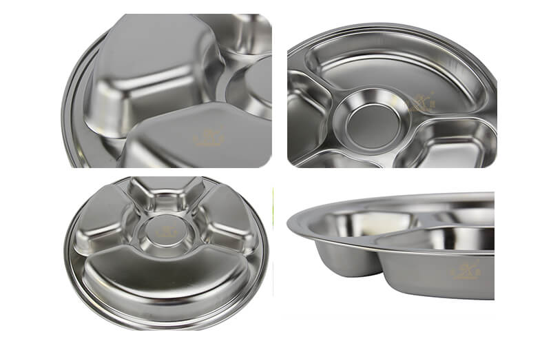 stainless food tray wholesale divided serving tray export