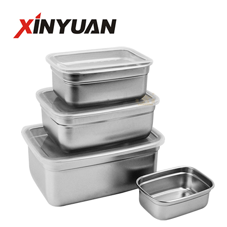 metal food container set stainless steel supplier for kitchen refrigerator lunch box crisper box with cover