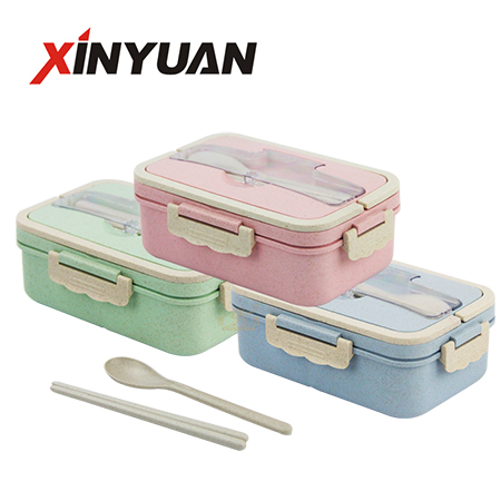 wheat straw lunch box health material 3 grid bento container food storage box spoon snd chopsticks supplier