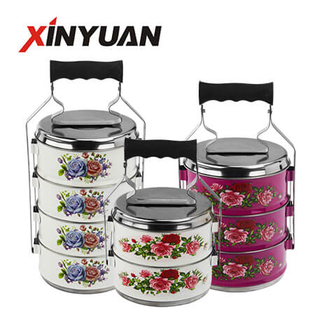Tiffin food carrier stainless steel multilayer lunch box can be layered with flower pattern India