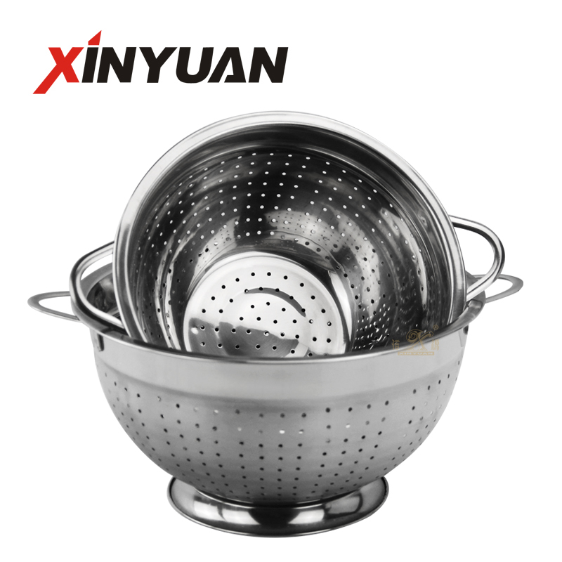 Stainless Steel Colander, Easy Grip Perforated rice basket, Strainer with Riveted and Heat Resistant Handles, BPA Free, Great for Pasta, Noodles, Vegetables and Fruits