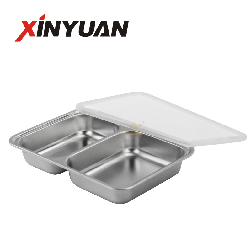 Stainless Steel snack serving tray Plate Divided Tray Restaurant snack Serving Tray Container Tray for School Crane Personal Dining Room