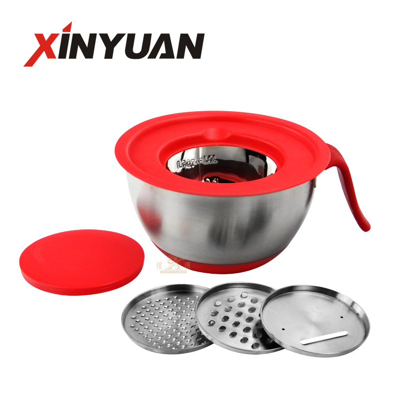 Mixing Bowl – Stainless Steel Non-slip Mixing Salad Bowl cutter with Handle, Grater Lid, Kitchen Cookware