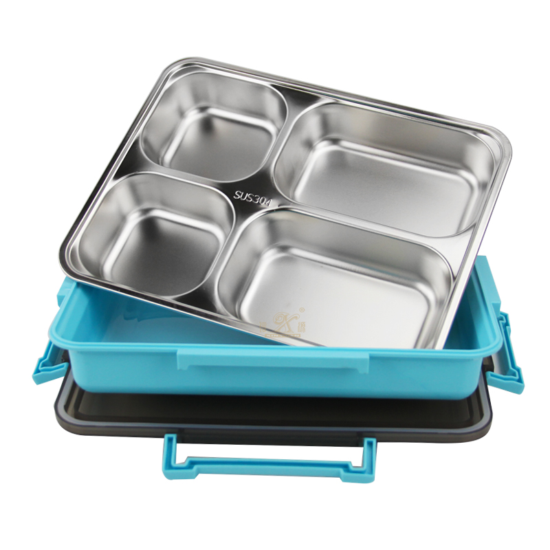 Stainless Steel Lunch Container for Kids Adults,Leak-Proof Lunch Box Container , School Lunch Containers, 4 Compartment Meal Prep Bento Box BPA Free