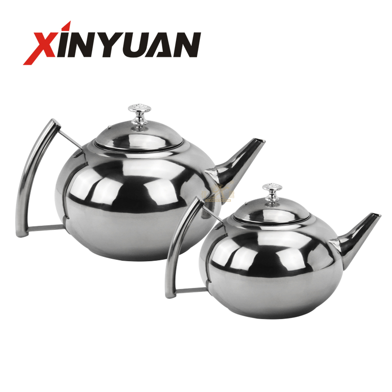 Double tea kettle Thermal Teapot Stainless Steel Double Wall Tea Pot with Fillter, Mirror Finish