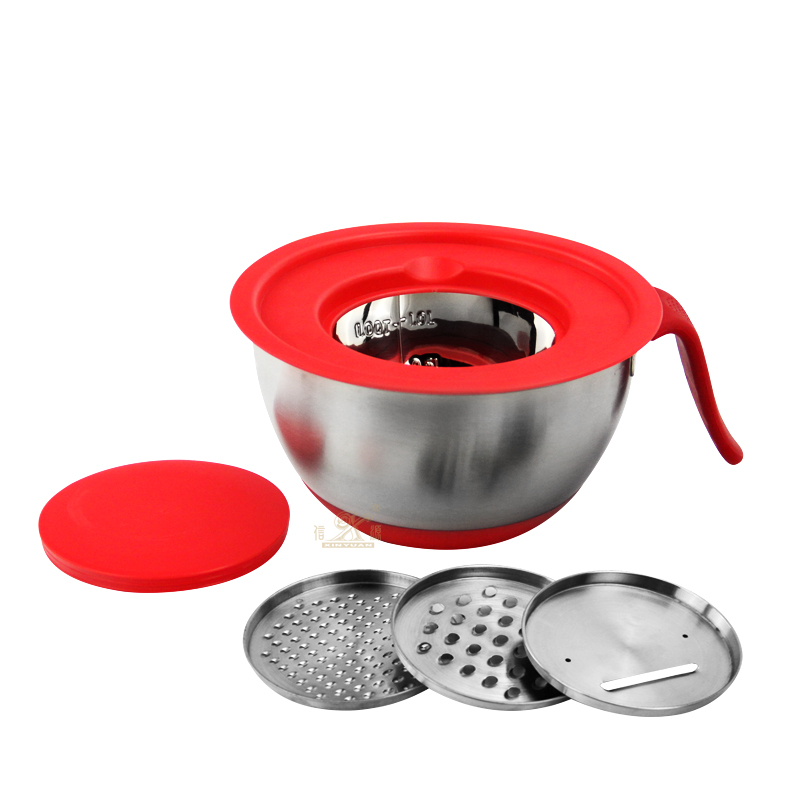 Stainless Steel Non-slip Mixing Salad Bowl cutter with Handle!