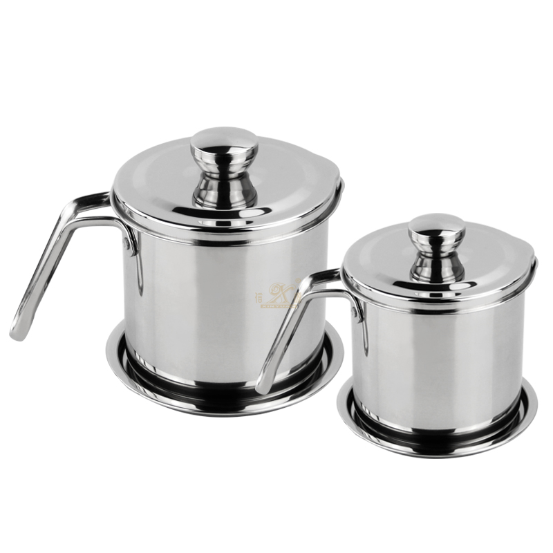 Oil Strainer Grease Container Can Stainless Steel Oil Storage Dripping Container Oil Cup with Fine Mesh Strainer Dust-Insect-Proof lid Non-Slip Plate