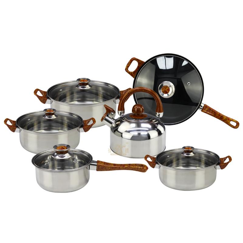 12 Pieces Cooking Pot Set Nonstick Granite-Coated Cookware Set Bakelite Handle with Wood Effect Steel Non Stick Cookware Sets