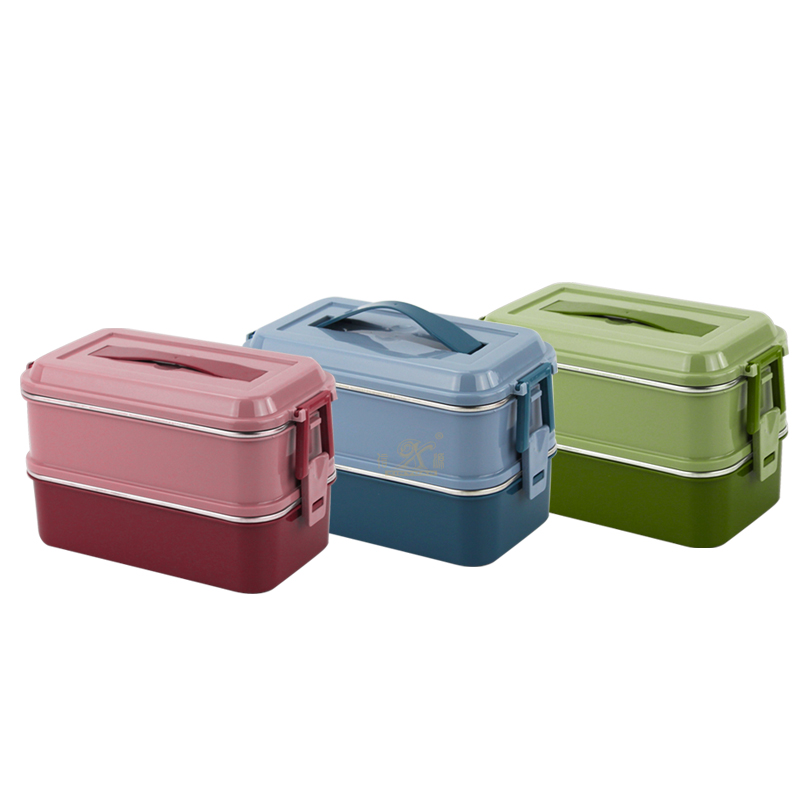 1/2 Tiers Lunch Boxes Stainless Steel and Silicone Bento Boxes Upors Lunch Microwave Freezer Dishwasher Safe Lunch Box for Kids Adults Work School