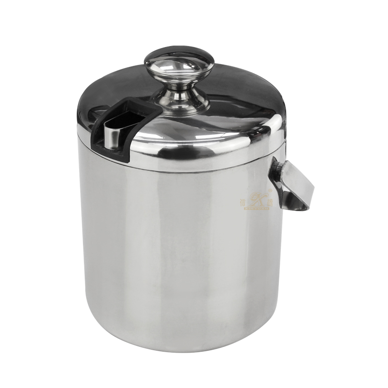 Double-Wall Stainless-Steel Insulated Ice Bucket With Lid, Ice Tong and Strainer