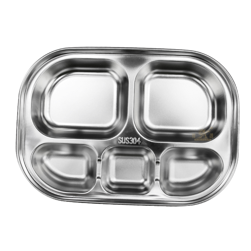 304 Stainless Steel kitchen plate kitchen plates 5 Section Dinner Plate Great for Camping Toddlers Kids Adult Lunch and Dinner or Every Day Use Serving Tray