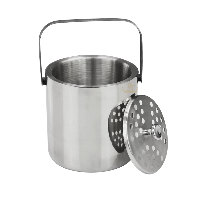 High-Grade stainless ice bucket with Lid and Tongs Premium Double Walled Metal stainless ice buckets with Strainer Easy Carry Handle Bar stainless ice bucket