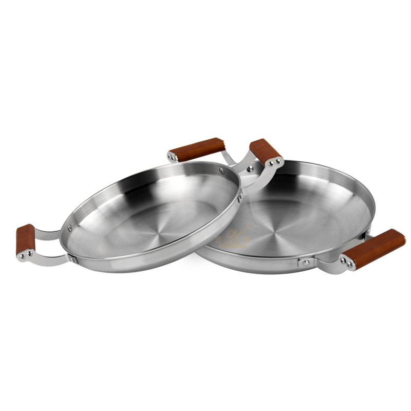 Cooking Pot Seafood Pan Binaural Stainless Steel Frying Pan Seafood Wok With Wooden Handle Household