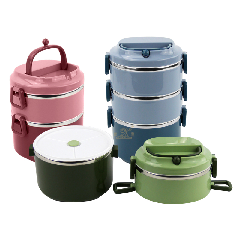 Insulated Lunch Box Portable Leakproof Stainless steel box 2-Layer Stainless Steel Stackable Thermal Food Container with Sealing Ring Ventilation Holel