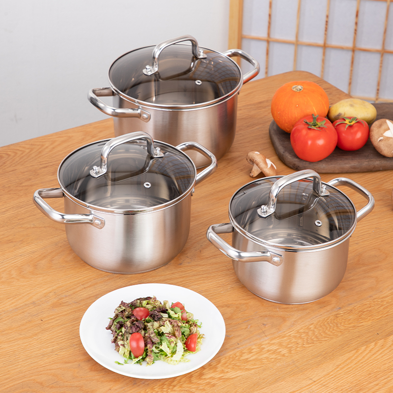 Double Bottom Visible flat glass cover stainless steel hot pot cookware set food warmer set