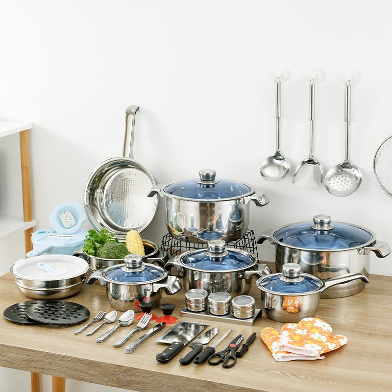 80-Piece cook ware pot and Pans Set, Kitchen stainless steel cookware set with Glass Lid