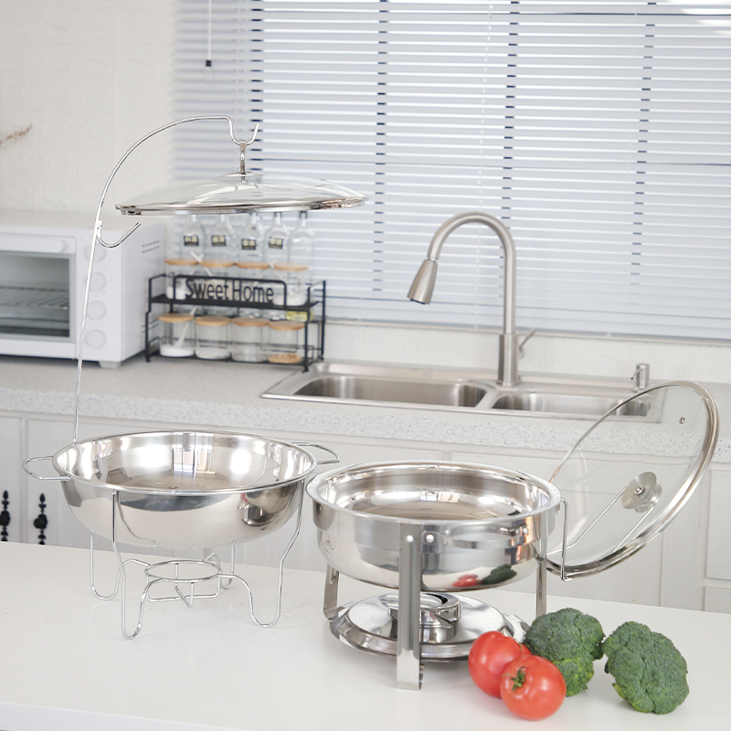 Round Buffet  Polished Food Catering Warmer Stainless Steel Buffet with Water Pan and Fuel Holder