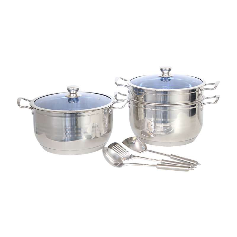 Stainless Steel bottom pot with Tempered Glass Lid and Double Handles ,Easy to Clean and Dishwasher Safe (Stainless Steel Color).