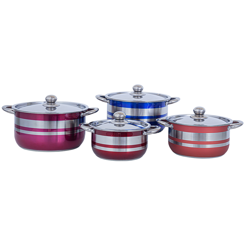Country non stick pan set Forged stainless steel saucepan set, spray colors Pot with Handles and Glass Lid